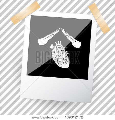 heart protect. Photoframe. Raster icon.