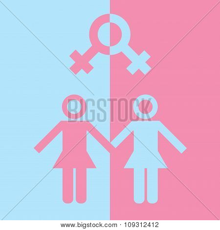 LGBT concept. Icon of gay couple with male marker. Vector illustration on white background.
