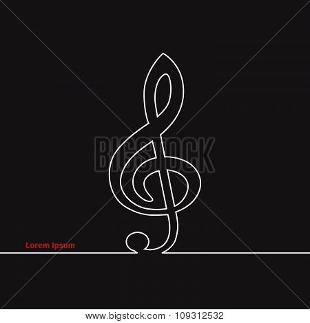 Treble clef silhouette on a black background