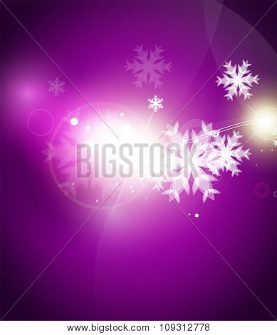Holiday purple abstract background, winter snowflakes, Christmas and New Year design template, light shiny modern vector illustration