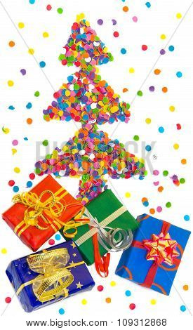 Christmas Tree Made Of Confetti With Colorful Gift Boxes.