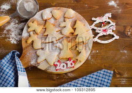 Homemade Christmas Cookies On  Wooden Background.