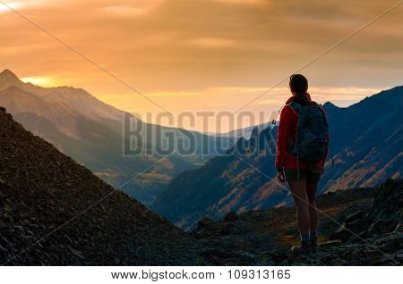 Backpacker Girl Looking At Sunset Colorado Mountains