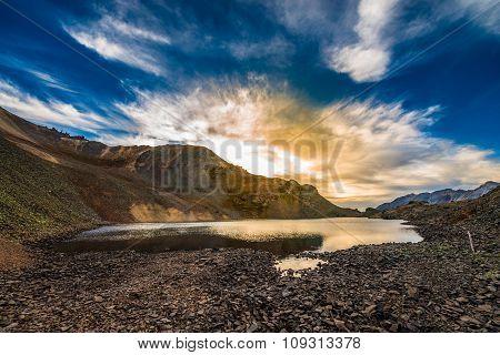 Crystal Lake At Sunset Ophir Pass Colorado