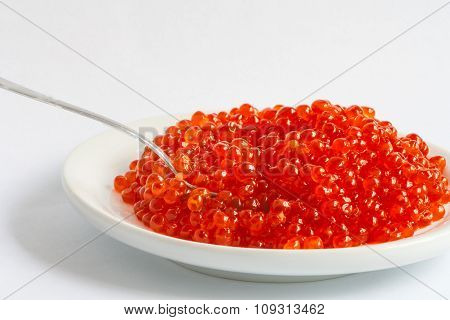 red caviar and spoon