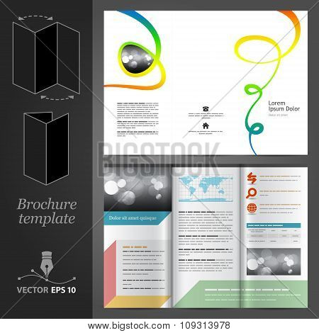 Brochure Template Design With Color Art Elements