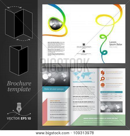 Brochure Template Design With Color Art Elements