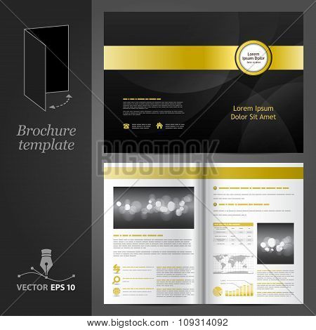 Black Brochure Template Design With Golden Elements