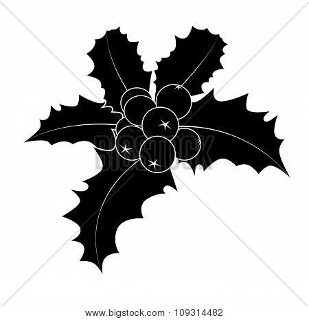 Holly Berry Silhouette, Christmas Leaves And Fruits Icon, Symbol, Design. Winter Vector Illustration