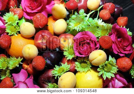 Mix fruits background.
