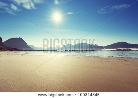Lofoten beach in sunny summer day, Norway