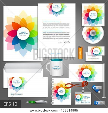 Brochure Template Design With Color Flower Elements