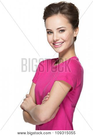 Portrait of a beautiful young happy woman over white background