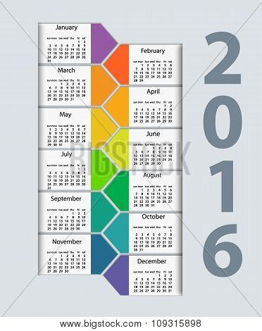 Calendar 2016 year vector design template.