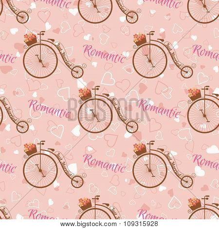 Vector wedding retro bicycle seamless pattern.