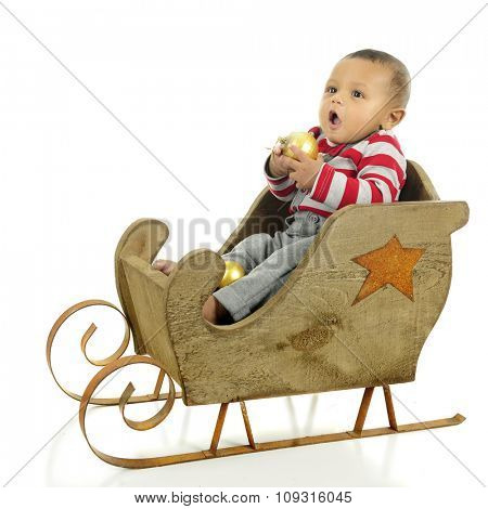 An adorable baby boy sitting in a rustic wooden sleigh ready to bite into the gold Christmas bulb he holds in his hands.  On a white background.