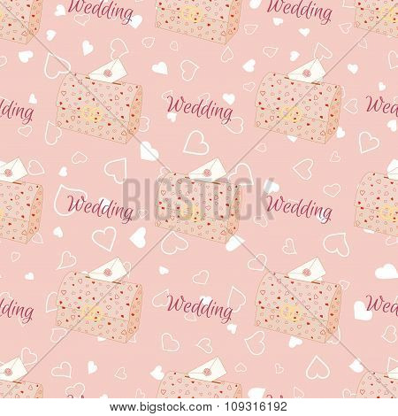 Vector pink wedding seamless pattern with chest.