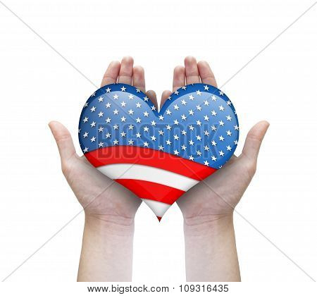 Heart With Usa Flag In Woman Hands