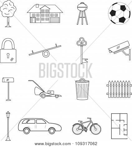 Home and house line icon set