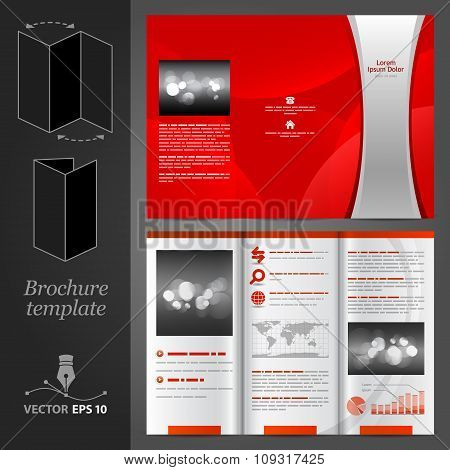 Red Brochure Template Design With Silver Stripe