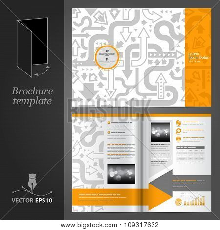Brochure Template Design With Gray Arrows