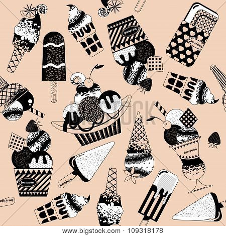 Different Flavors Of Ice Cream. Black And White. Seamless Background Pattern.