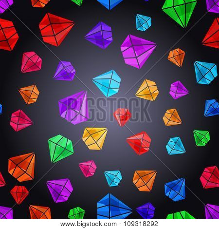 Seamless Pattern With Colorful Gems