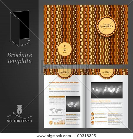 Brown Brochure Template Design With Waves