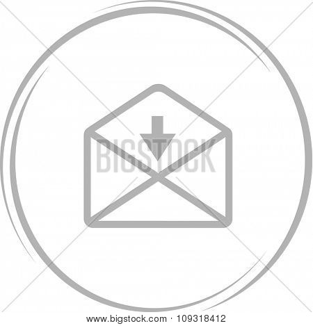 mail down arrow. Internet button. Vector icon.