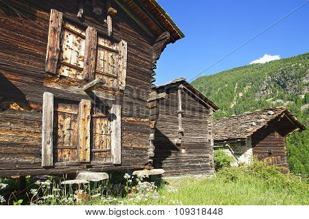 The beautiful  rural landscape with chalet near Zermatt.