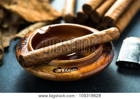 Cuban Cigar In Wooden Ash Tray