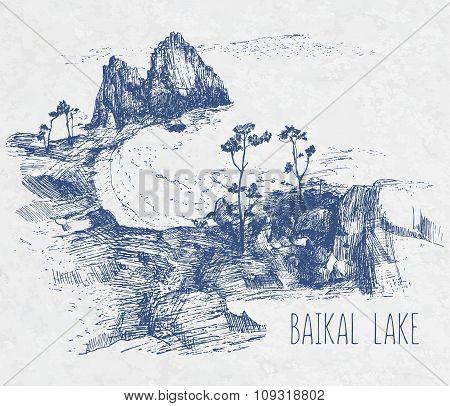 Hand Drawing Landscape Of Sacred Baikal Lake. Vector Illustration. Khuzhir