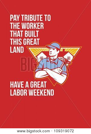 Labor Day Greeting Card Builder Hammer Houses Shield
