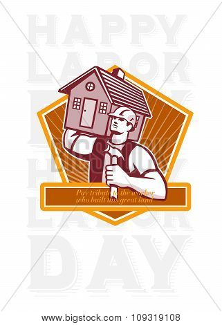 Labor Day Greeting Card Builder Hammer House Shield