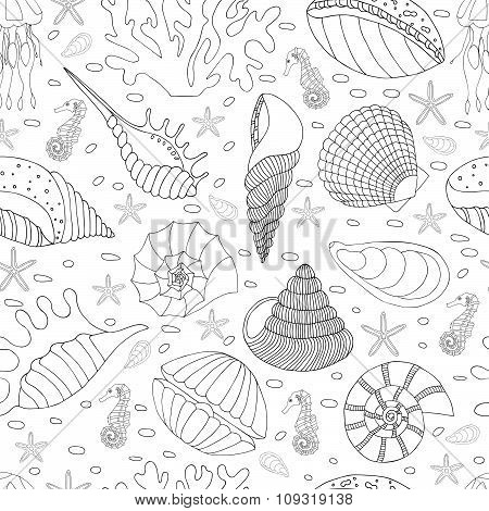 Wonderful vector seamless pattern of seashells