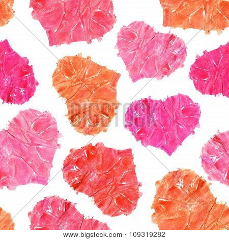 Valentine's Day Seamless Background. Colorful Watercolor Hearts On A White Background.