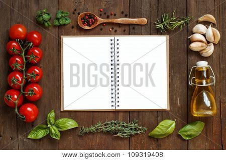 Craft Paper With Border Of Vegetables,  Herbs And Olive Oil