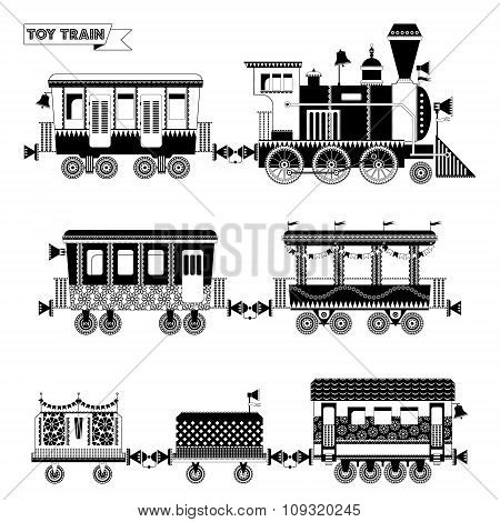 Toy Train. Locomotive With Several Coaches. Black And White.