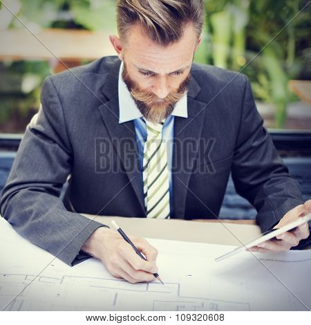 Business Businessman Concentrate Strategy Creative Concept
