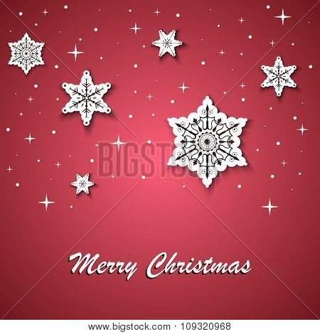 Red Christmas Wishes With White Stars On The Background