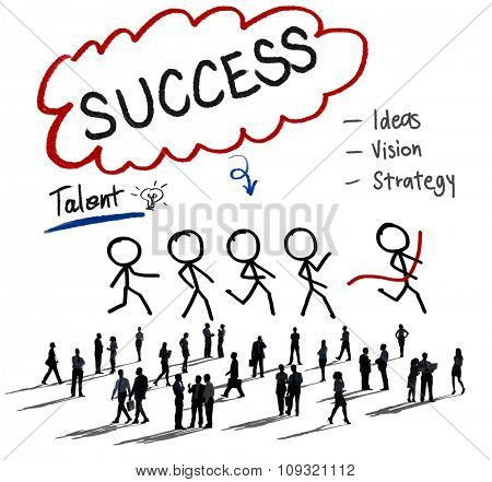 Success Thought Bubble Stick People Concept