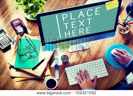 Businessman Working Computer Commercial Copy Space Concept