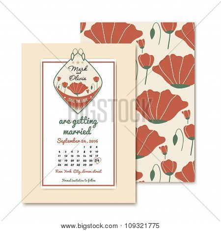 vintage design wedding invitations. For wedding decoration with poppies. Template of the emblem save