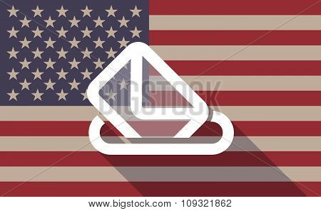Long Shadow Vector Usa Flag Icon With  A Ballot Box