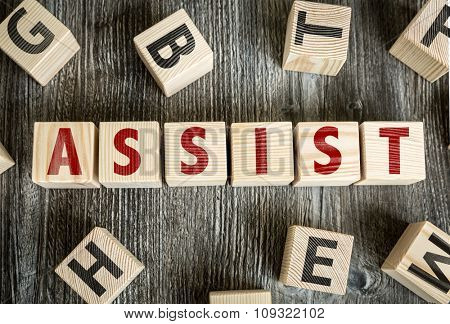 Wooden Blocks with the text: Assist