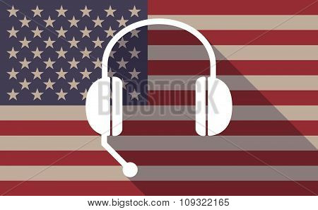 Long Shadow Vector Usa Flag Icon With  A Hands Free Phone Device