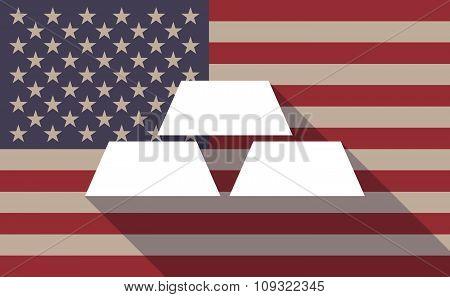 Long Shadow Vector Usa Flag Icon With Three Gold Bullions
