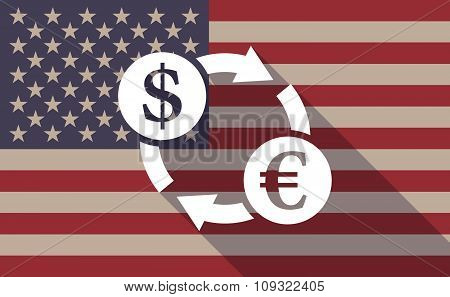 Long Shadow Vector Usa Flag Icon With A Dollar Euro Exchange Sign