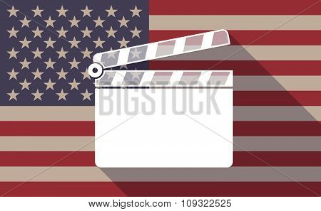 Long Shadow Vector Usa Flag Icon With A Clapperboard