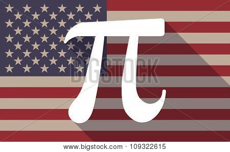 Long Shadow Vector Usa Flag Icon With The Number Pi Symbol